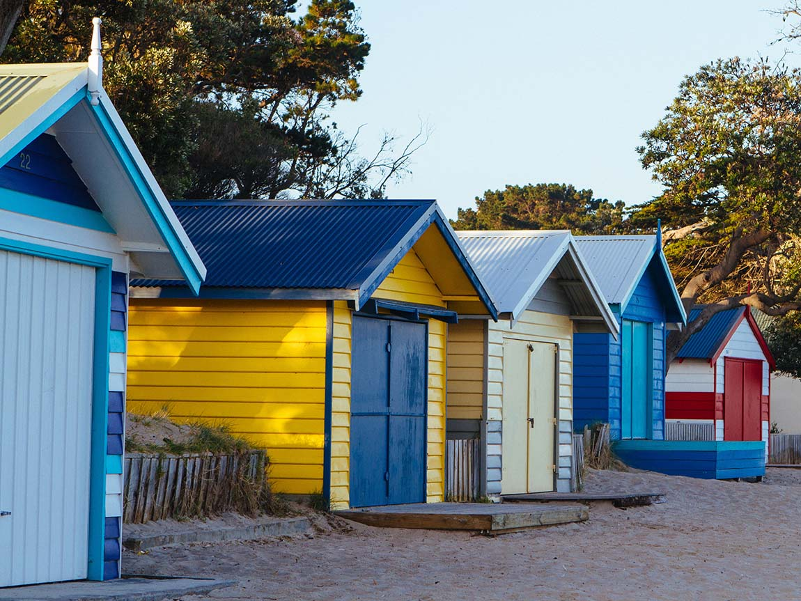 Bathing boxes on the Mornington Peninsula, Victoria, Australia. Photo: Roberto Seba