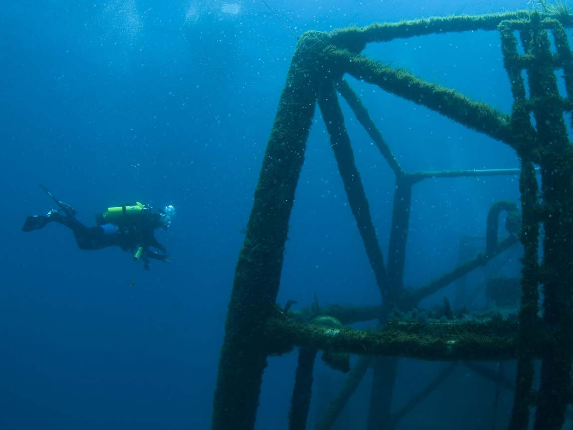 Scuba diver exploring the HMAS Canberra wreck, Mornington Peninsula, Victoria, Australia