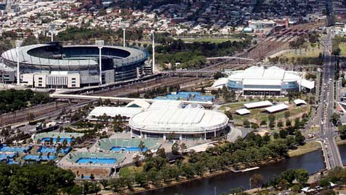 Aerial view of the MCG and Melbourne Park, Melbourne, Victoria, Australia
