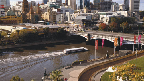 Yarra River and skyline, Melbourne, Victoria, Australia