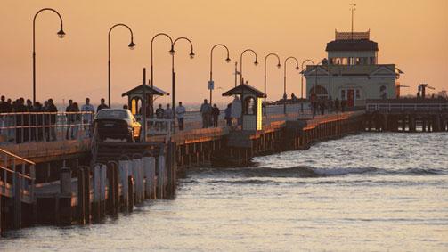 St Kilda Pier and Pavilion at dusk, Melbourne, Victoria, Australia