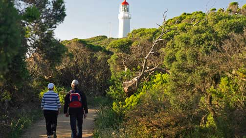 Walking to Cape Schanck Lighthouse, Mornington Peninsula, Victoria, Australia