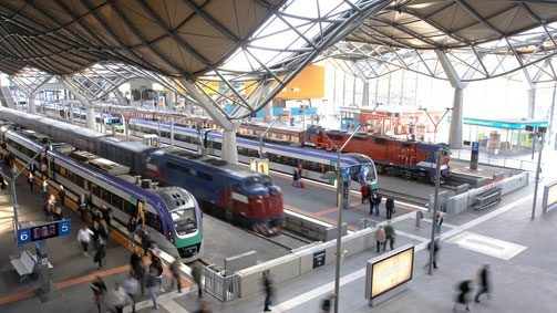 Trains at Southern Cross Station, Melbourne, Victoria, Australia