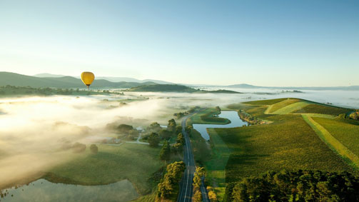 Ballooning over the Yarra Valley, Yarra Valley and Dandenong Ranges, Victoria, Australia