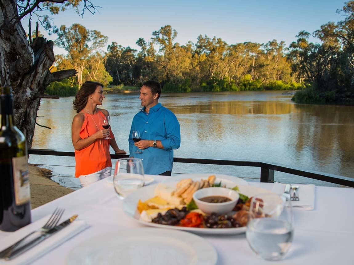 Riverside dining, The Murray, Victoria, Australia