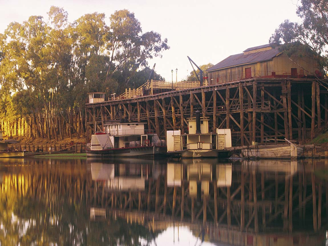 Port of Echuca on the Murray River, The Murray, Victoria, Australia