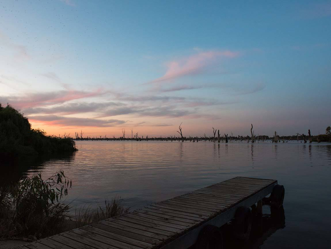 Lake Mulwala at sunset, the Murray, Victoria, Australia