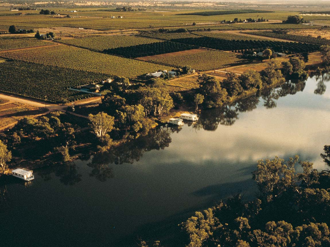 Aerial view of the Murray River near Mildura, The Murray, Victoria, Australia