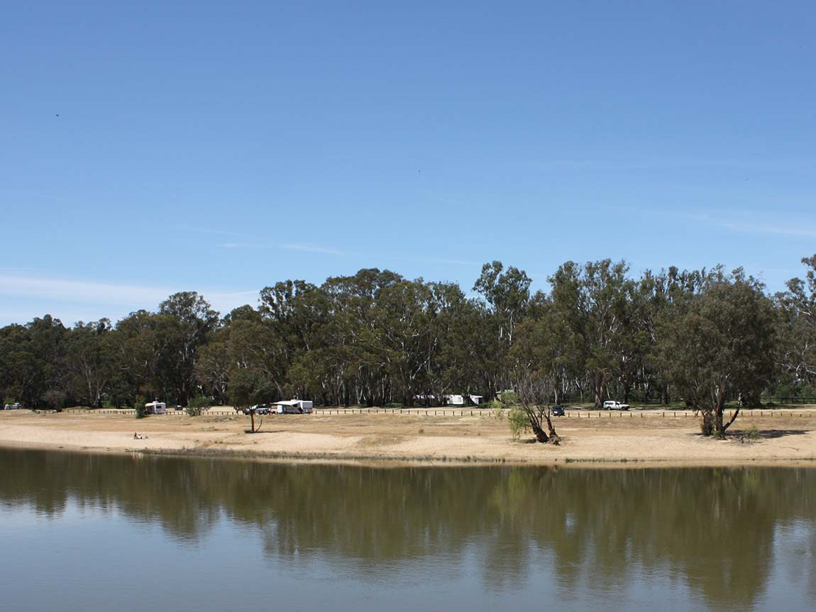 River camping at Tocumwal, The Murray, Victoria, Australia