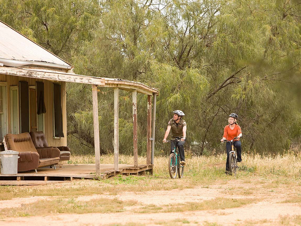 Cycling through Yanga National Park, The Murray, Victoria, Australia