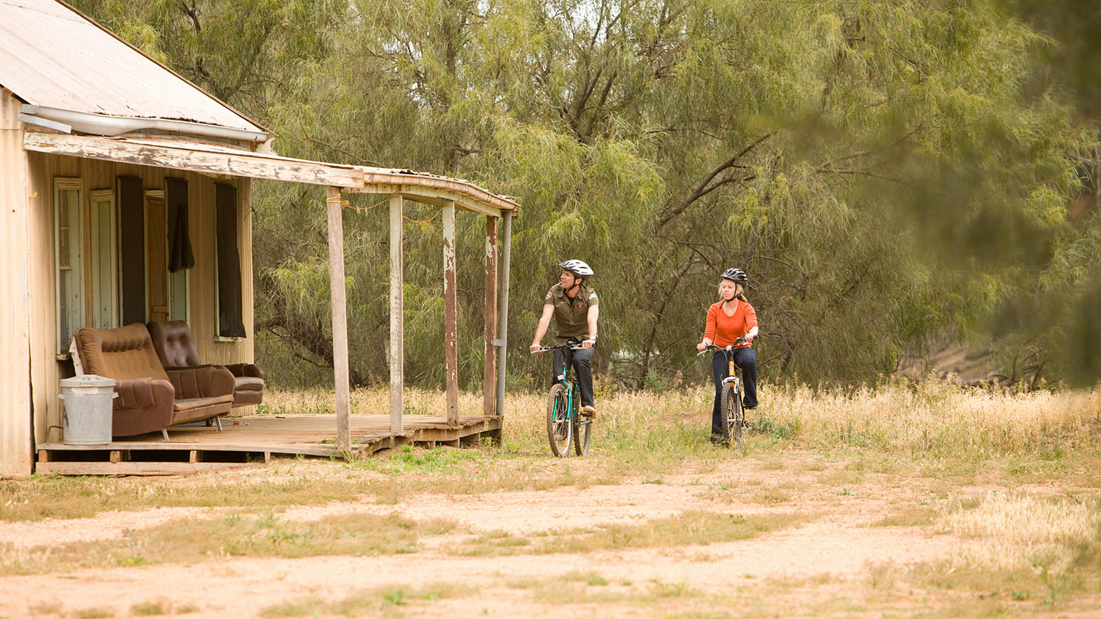 Cycling in Yanga National Park, The Murray, Victoria, Australia