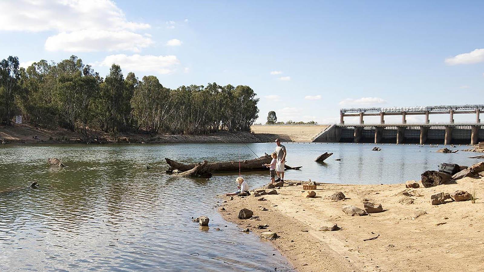 Fishing at Yarrawonga-Mulwala, The Murray, Victoria, Australia