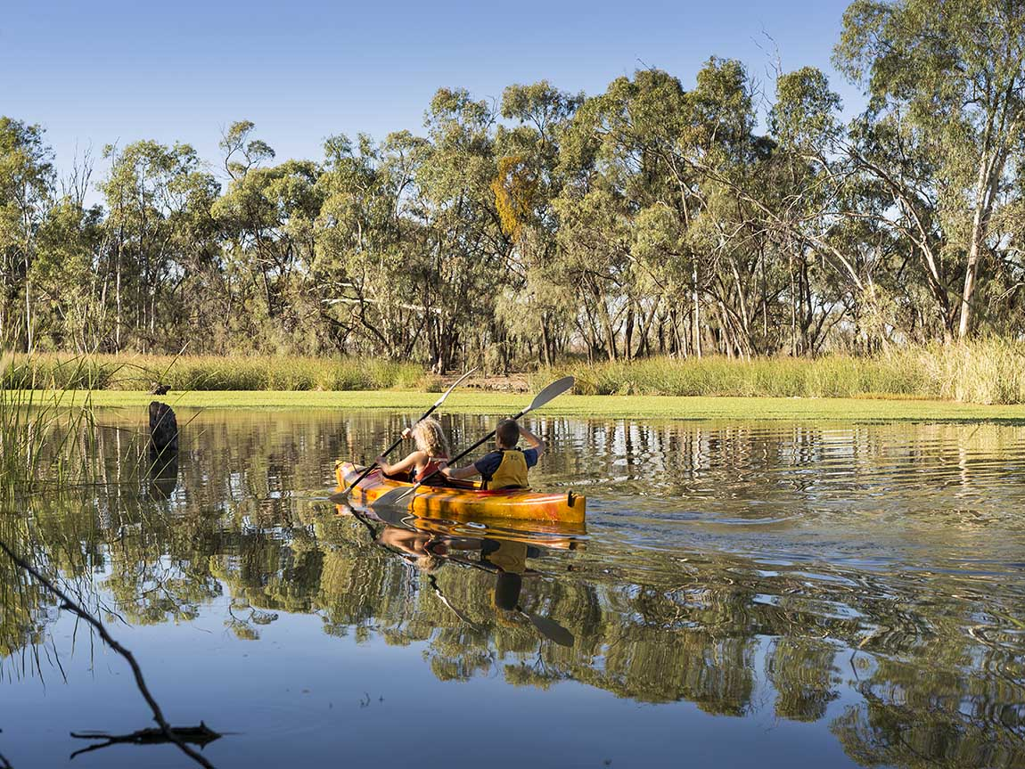Kayaking, The Murray River, The Murray, Victoria, Australia