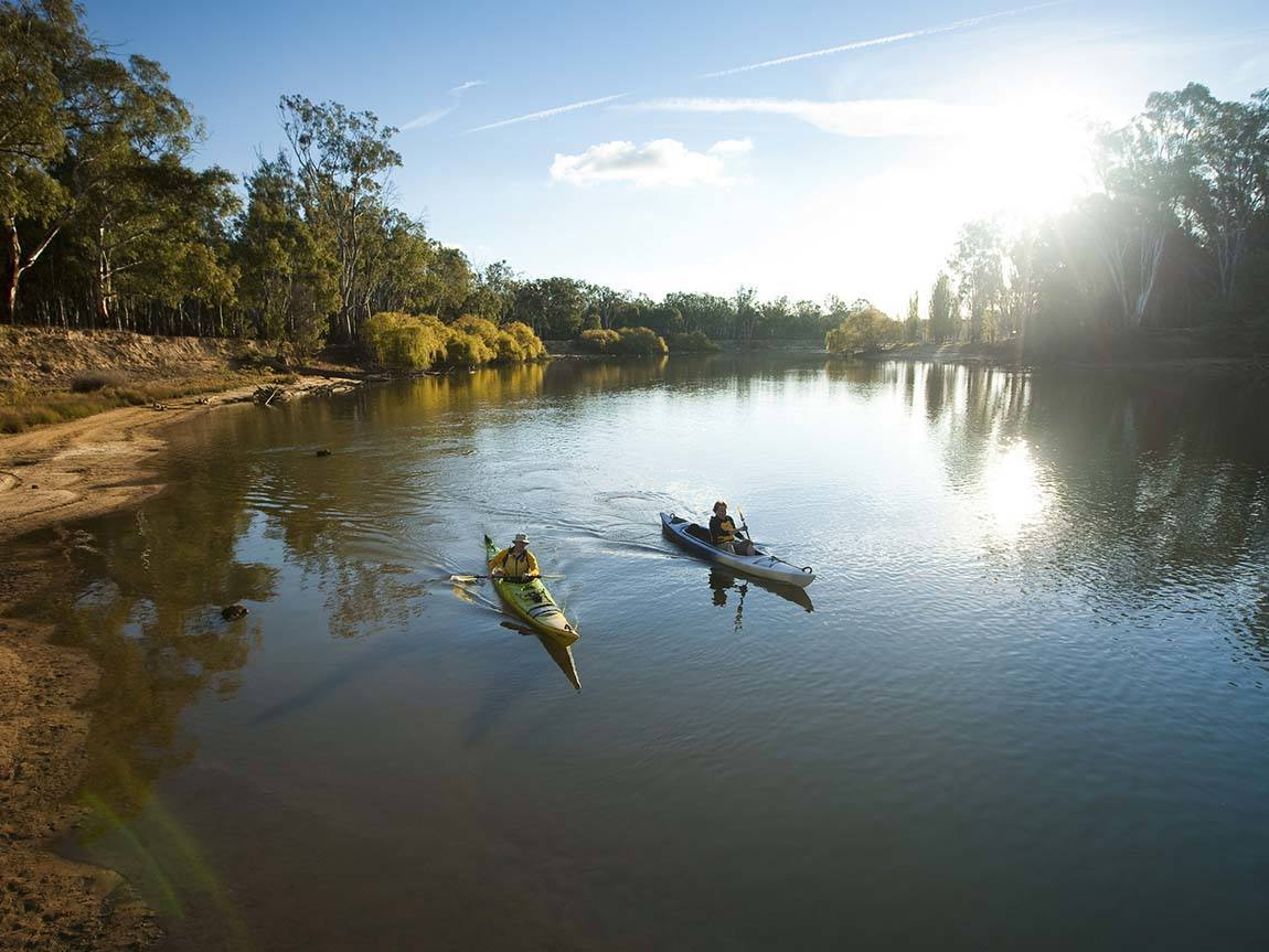 Kayaking on the Murray River, The Murray, Victoria, Australia