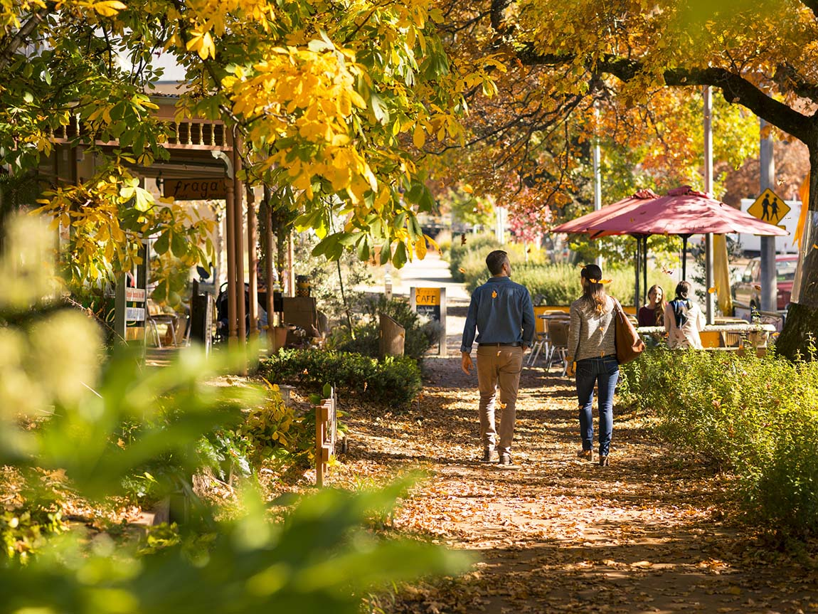 Couple walking in Marysville. Yarra Valley and Dandenong Ranges, Victoria, Australia