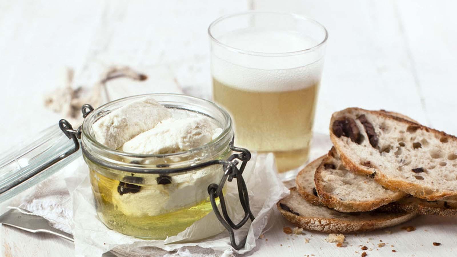 Marinated fetta, olive bread and cider, Yarra Valley, Victoria, Australia. Photo: Katie Quinn Davies