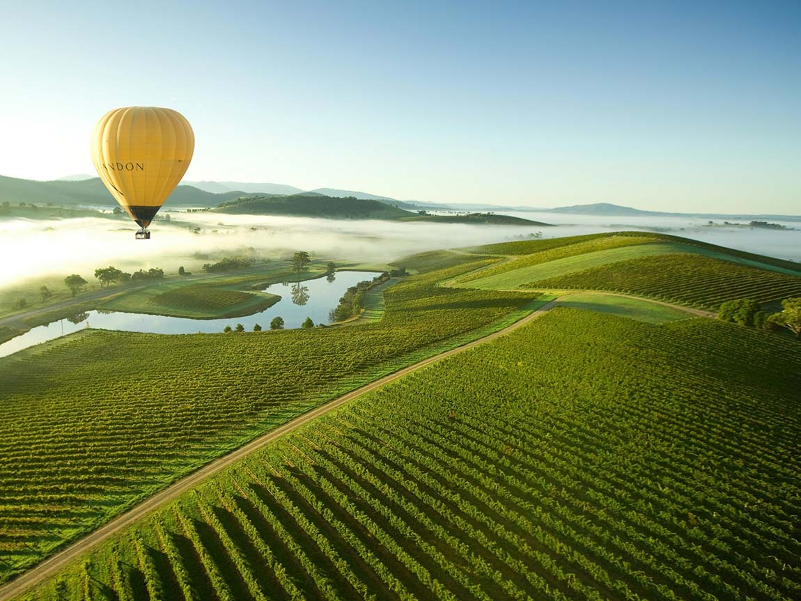 Hot air balloon over the Yarra Valley, Yarra Valley and Dandenong Ranges, Victoria, Australia